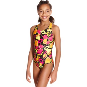 Speedo Girls Ignition Pop Crossback Swimsuit Black/Jaffa/Pink