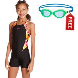 Speedo Girls Comet Pop Printed Legsuit Black/Jaffa/Electric Pink FREE Goggles