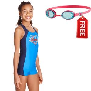 Speedo Girls Fizz Express Panel Legsuit Navy/Bondi Blue/Spearmint FREE Goggle