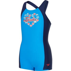 Speedo Girls Fizz Express Panel Legsuit Navy/Bondi Blue/Spearmint