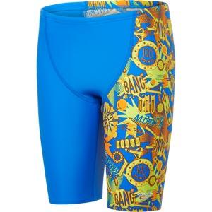 Speedo Boys Ignition Flare Allover V Cut Panel Jammer Bondi Blue/Jaffa/Lime Punch