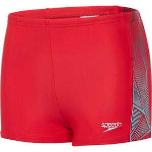 Speedo Boys Star Kick Logo Panel Aquashort Risk Red/Spearmint/Black