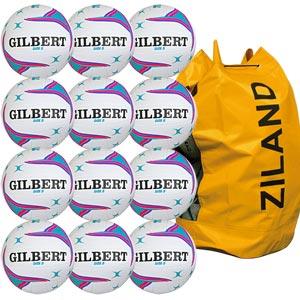 Gilbert APT Training Netball 12 Pack White and Purple