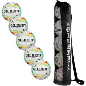 Gilbert Pulse Match Netball 5 Pack White