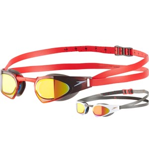 Speedo Fastskin Prime Mirror Swimming Goggle Charcoal/White/Lava Red