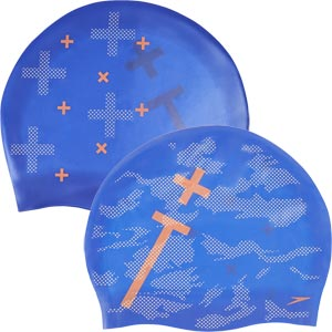 Speedo Tango Vision Reversible Moulded Silicone Swimming Cap Blue/White/Fluo Orange