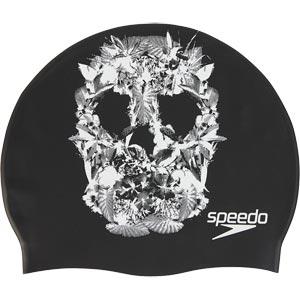 Speedo Senior Slogan Print Swimming Cap Black/White