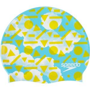 Speedo Junior Slogan Swimming Cap Light Adriatic/Citron/White