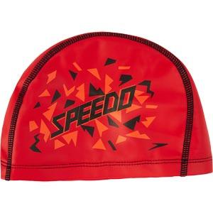 Speedo Junior Printed Pace Swimming Cap Lava Red/Orange/Black