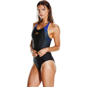 Speedo Fit Laneback Swimsuit Black/Fluo Orange/Ultramarine
