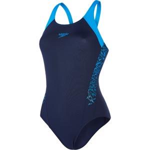 Speedo Boom Splice Muscleback Swimsuit Navy/Neon Blue