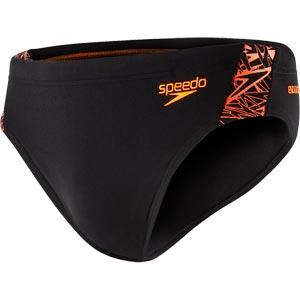 Speedo Mens Boom Splice Brief Black/Fluo Orange