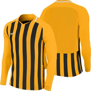 Nike Striped Division III Long Sleeve Junior Football Shirt University Gold/Black