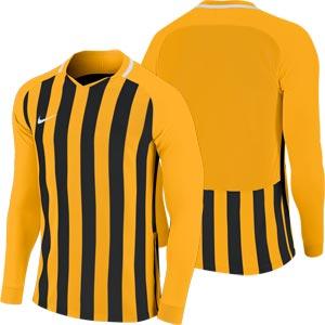 Nike Striped Division III Long Sleeve Senior  Football Shirt University Gold/Black