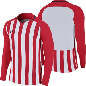 Nike Striped Division III Long Sleeve Senior Football Shirt University Red/White