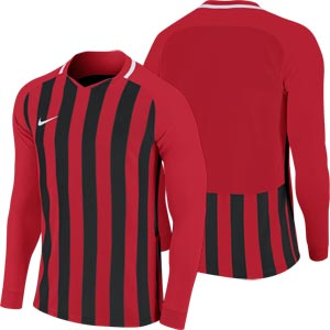 Nike Striped Division III Long Sleeve Junior  Football Shirt University Red/Black