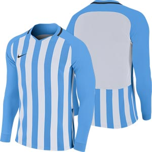 Nike Striped Division III Long Sleeve Junior Football Shirt University Blue/White