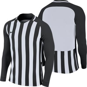 Nike Striped Division III Long Sleeve Senior Football Shirt Black/White