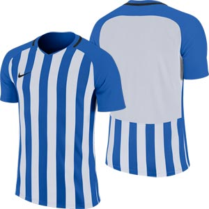 Nike Striped Division III Short Sleeve Senior Football Shirt Royal Blue/White