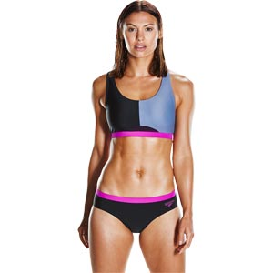 Speedo HydrActive Two Piece Swimsuit Black/Vita Grey/Diva