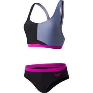 Speedo HydrActive Two Piece Swimsuit Black/Vita Grey/Diva