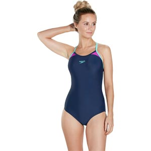 Speedo Splice Thinstrap Racerback Swimsuit Navy/Diva/Spearmint
