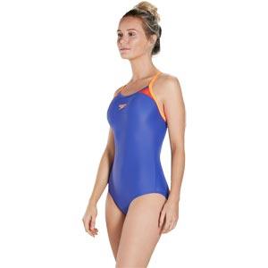Speedo Splice Thinstrap Racerback Swimsuit Ultramarine/Fluo Orange/Lobster