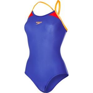 Speedo Splice Thinstrap Racerback Swimsuit Ultramarine/Orange/Red
