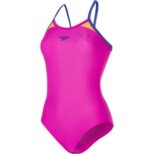 Speedo Splice Thinstrap Racerback Swimsuit Diva/Ultramarine/Orange