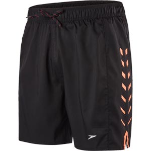 Speedo Sport Printed 16 Inch Watershort Black/Fluo Orange