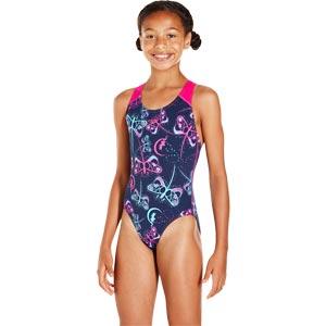Speedo Girls Flashfly Allover Splashback Swimsuit Navy/Turquoise/Electric Pink