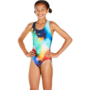 Speedo Girls Watermist Placement Splashback Swimsuit Navy/Turquoise/Green