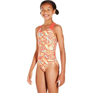 Speedo Girls Colourmelt Allover Splashback Swimsuit Watermelon/Fluo Orange/Spearmint