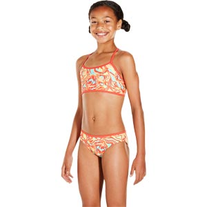 Speedo Girls Colourmelt Allover 2 Piece Swimsuit Watermelon/Fluo Orange/Spearmint