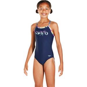 Speedo Girls Thinstrap Powderpuff Muscleback Swimsuit Navy/Diva/Spearmint