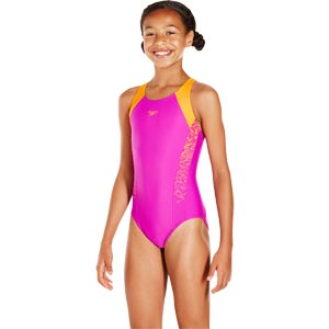 Speedo Girls Boom Splice Muscleback Swimsuit Diva/Jaffa