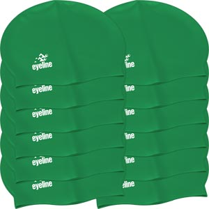 Eyeline Senior Latex Swimming Cap 12 Pack Green