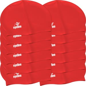 Eyeline Senior Latex Swimming Cap 12 Pack Red