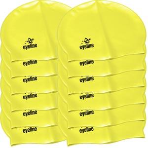 Eyeline Senior Latex Swimming Cap 12 Pack Yellow