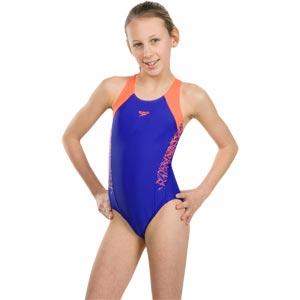 Speedo Girls Boom Splice Muscleback Swimsuit Ultrasonic/Fluo Orange