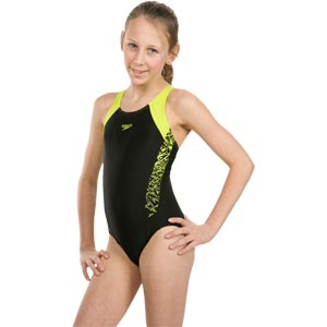 Speedo Girls Boom Splice Muscleback Swimsuit Black/Lime Punch