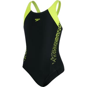Speedo Girls Boom Splice Muscleback Swimsuit Black/Lime