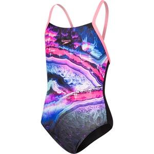 Speedo Sapphire Shine Crossback Swimsuit Black/Pink/Blue