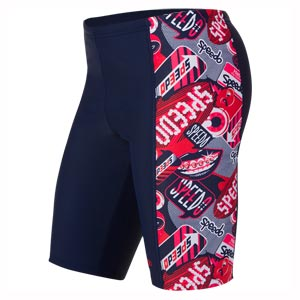 Speedo Flash Attack Panel Jammer Navy/Risk Red