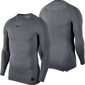 Nike Pro Compression Crew Senior Long Sleeve Top Carbon Heather