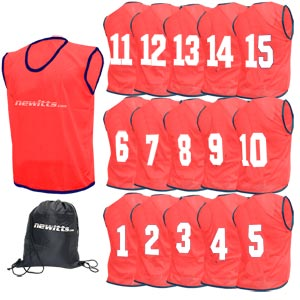 Newitts Numbered Training Bibs 1-15 Pack Red
