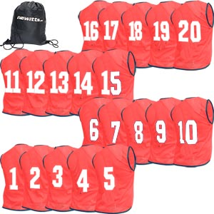 Numbered Training Bibs 1-20 Pack Red