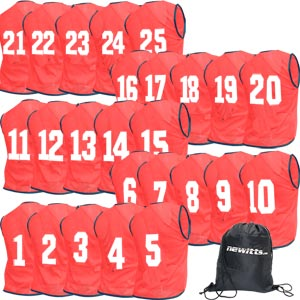 Newitts Numbered Training Bibs 1-25 Pack Red