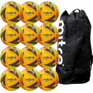 Mitre Ultimatch Max Match Football Yellow 12 Pack