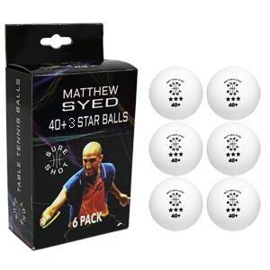 Sure Shot Matthew Syed 3 Star Table Tennis Balls